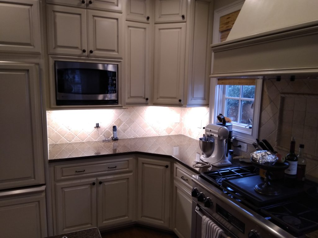 picture of kitchen counter with new LED Lights