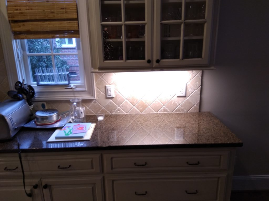 picture of kitchen counter with bright light